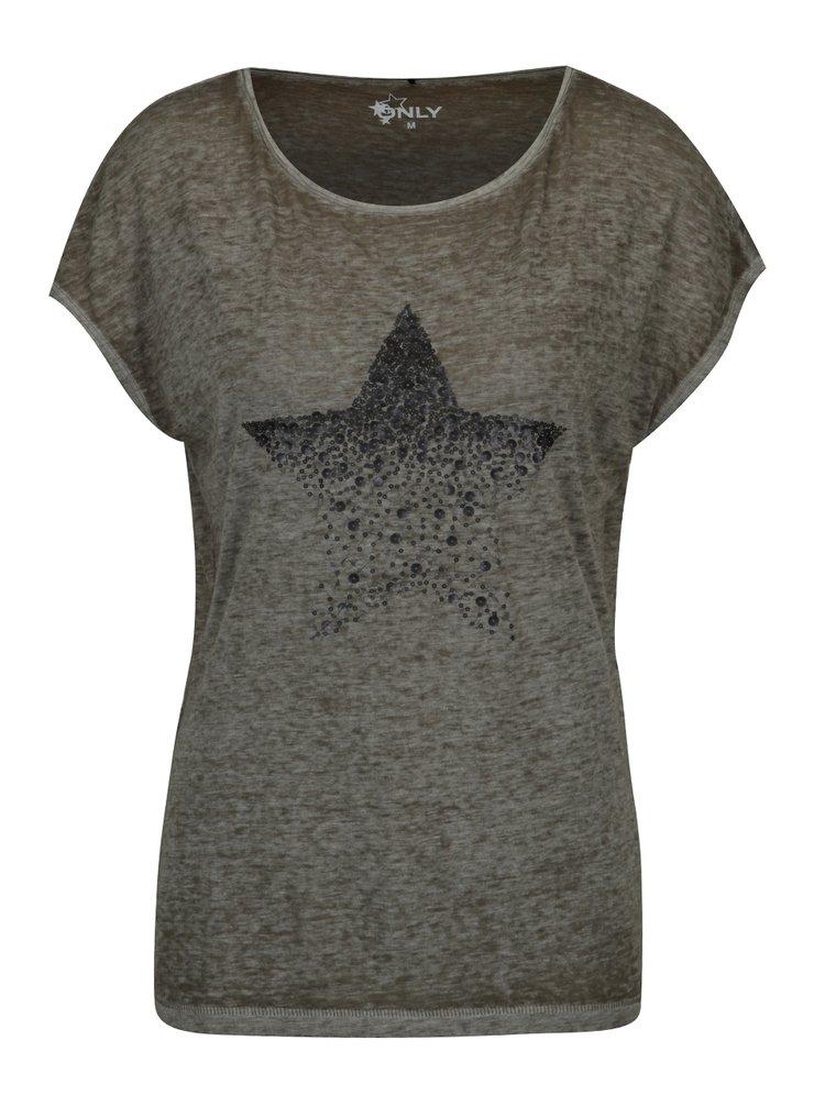 Khaki žíhané tričko s flitry ONLY New Eagle