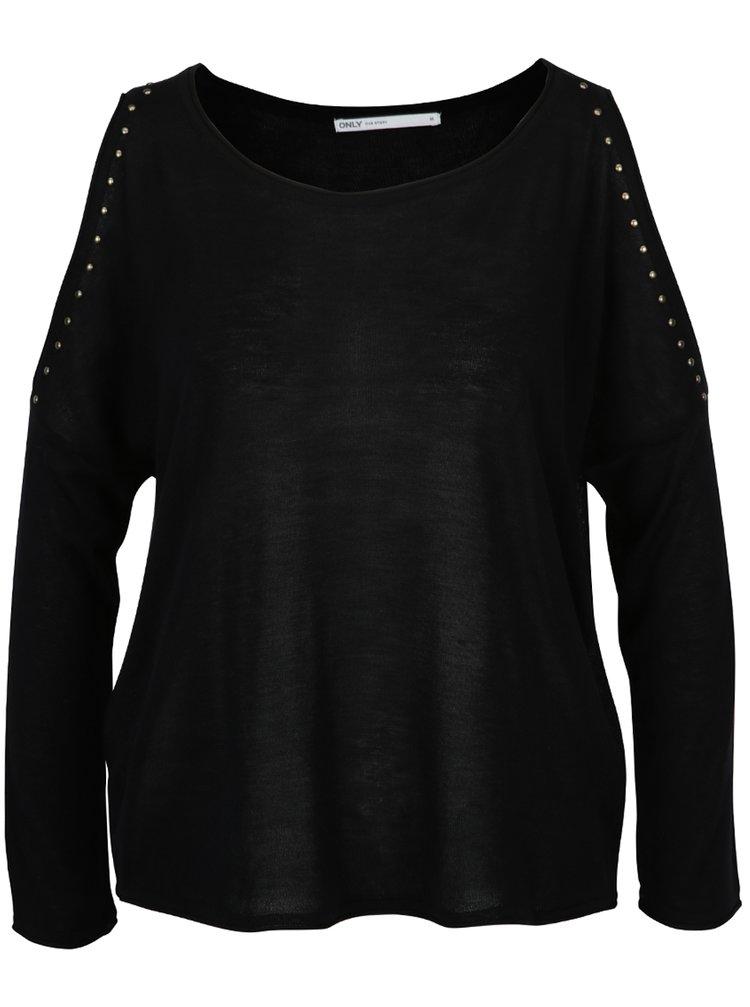 Pulover negru cu decupaje pe umeri și ținte decorative - ONLY Sky