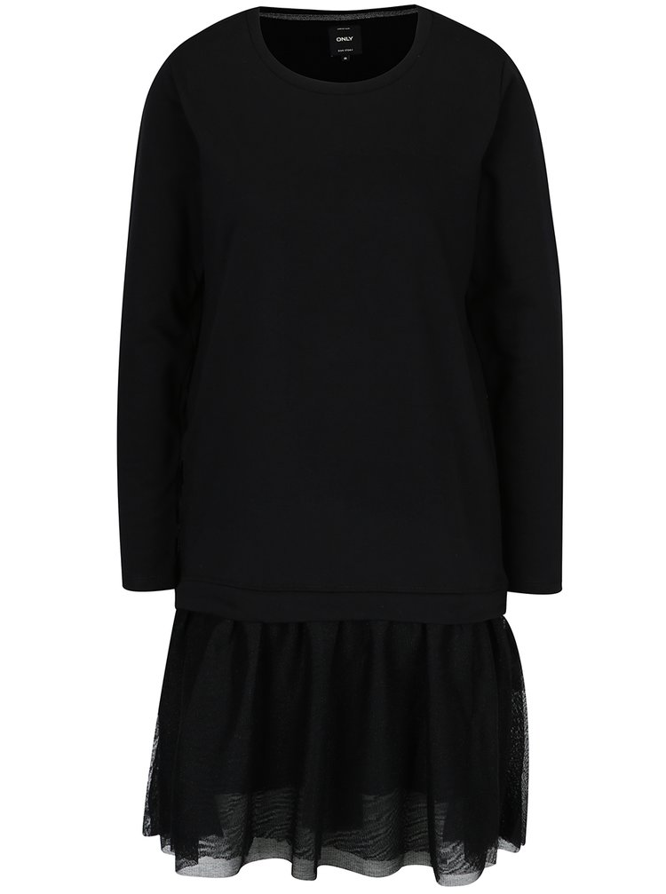 Černé mikinové šaty s šifónovou sukní ONLY Danila