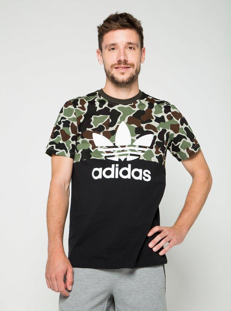 Tricou negru cu model camuflaj pentru bărbați adidas Originals
