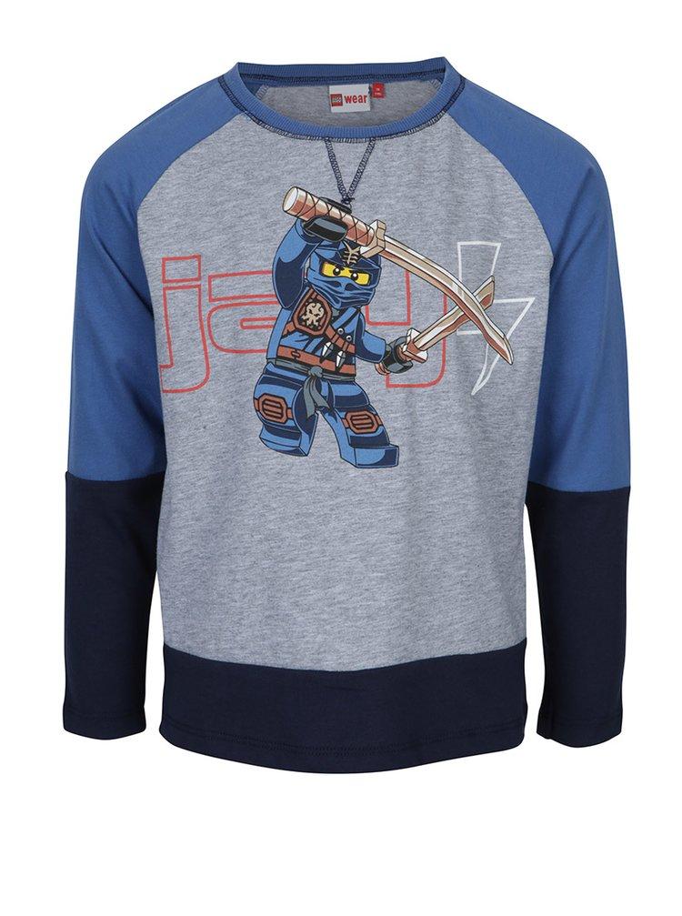 Modré chlapčenské tričko s dlhým rukávom a potlačou Lego Wear Teo