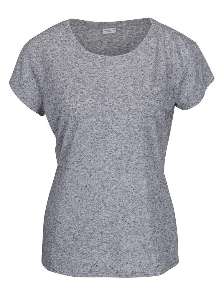 Tmavě modré žíhané tričko s příměsí lnu Jacqueline de Yong Bolette