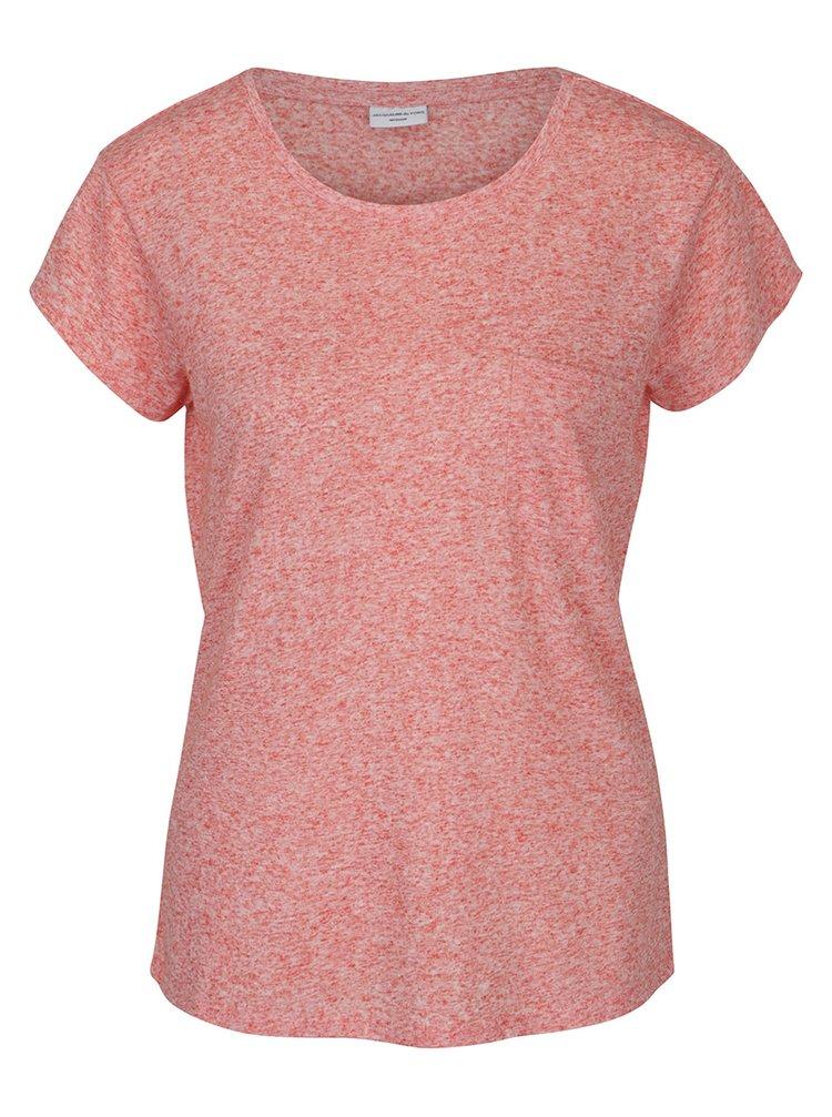 Korálové žíhané tričko s příměsí lnu Jacqueline de Yong Bolette