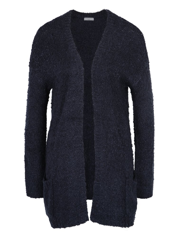 Cardigan lung bleumarin din material boucle Jacqueline de Yong Rio