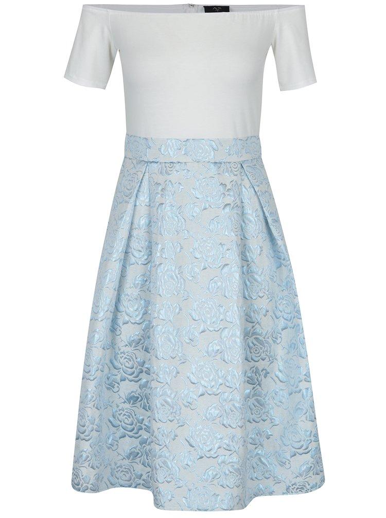 Rochie cu brocart alb & bleu cu aspect 2 în 1- AX Paris