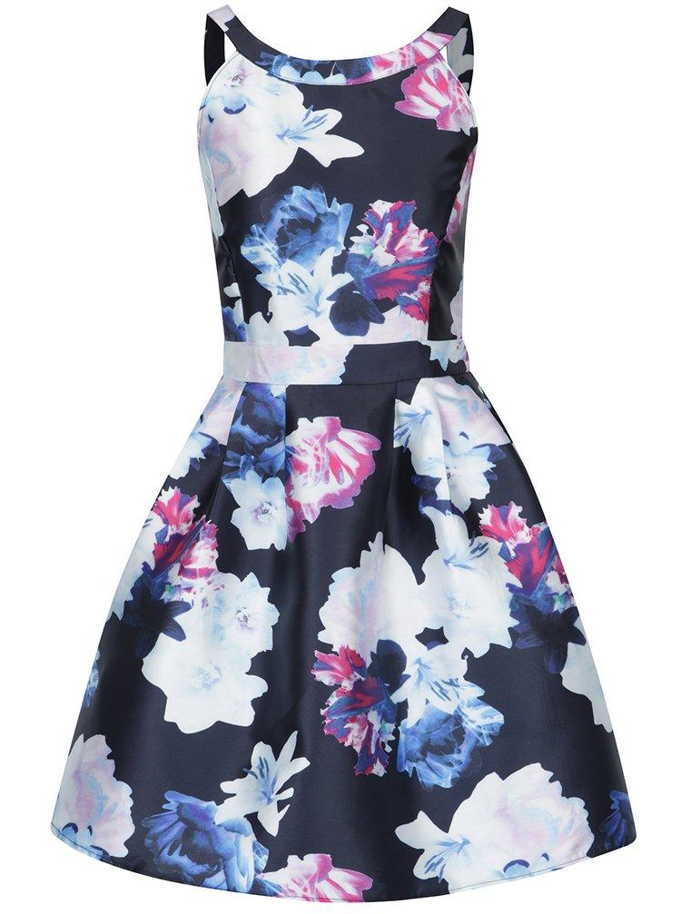 Růžovo-modré květované šaty bez rukávů AX Paris