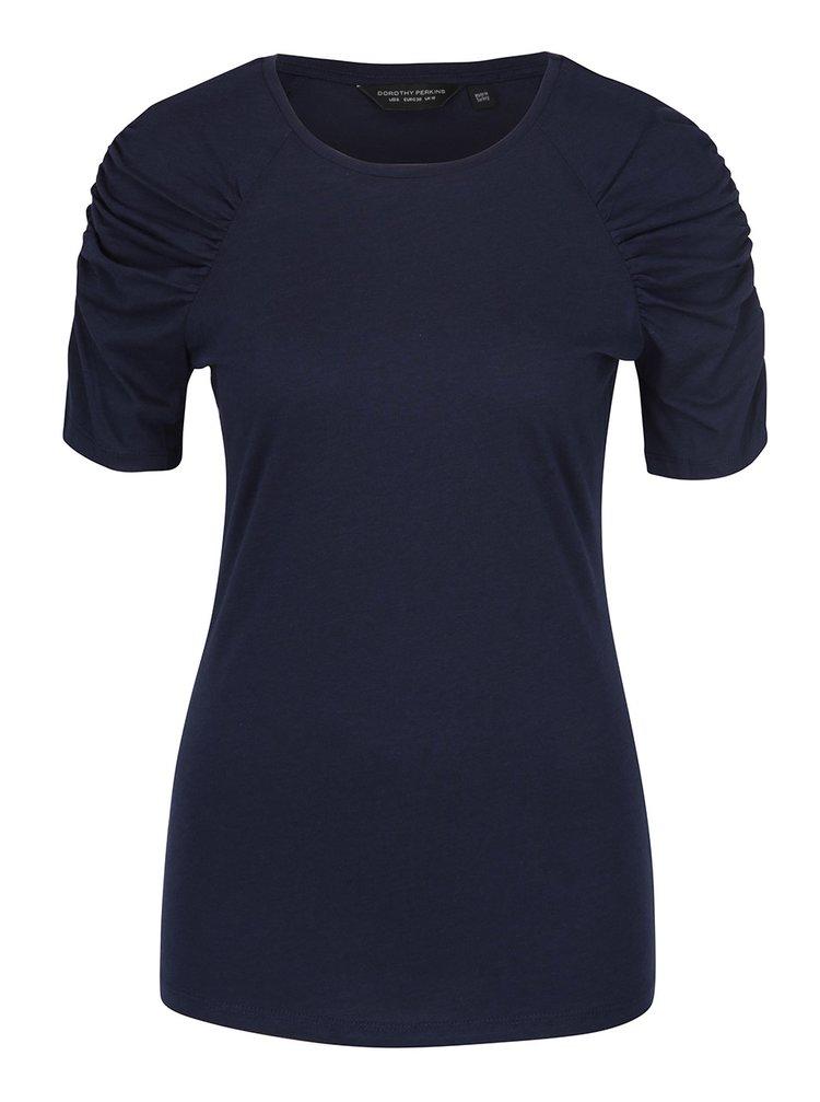 Tricou bleumarin cu mâneci cu falduri Dorothy Perkins