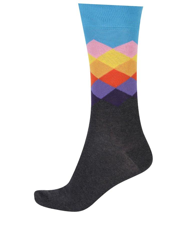 Sosete multicolore cu romburi Happy Socks Faded Diamond