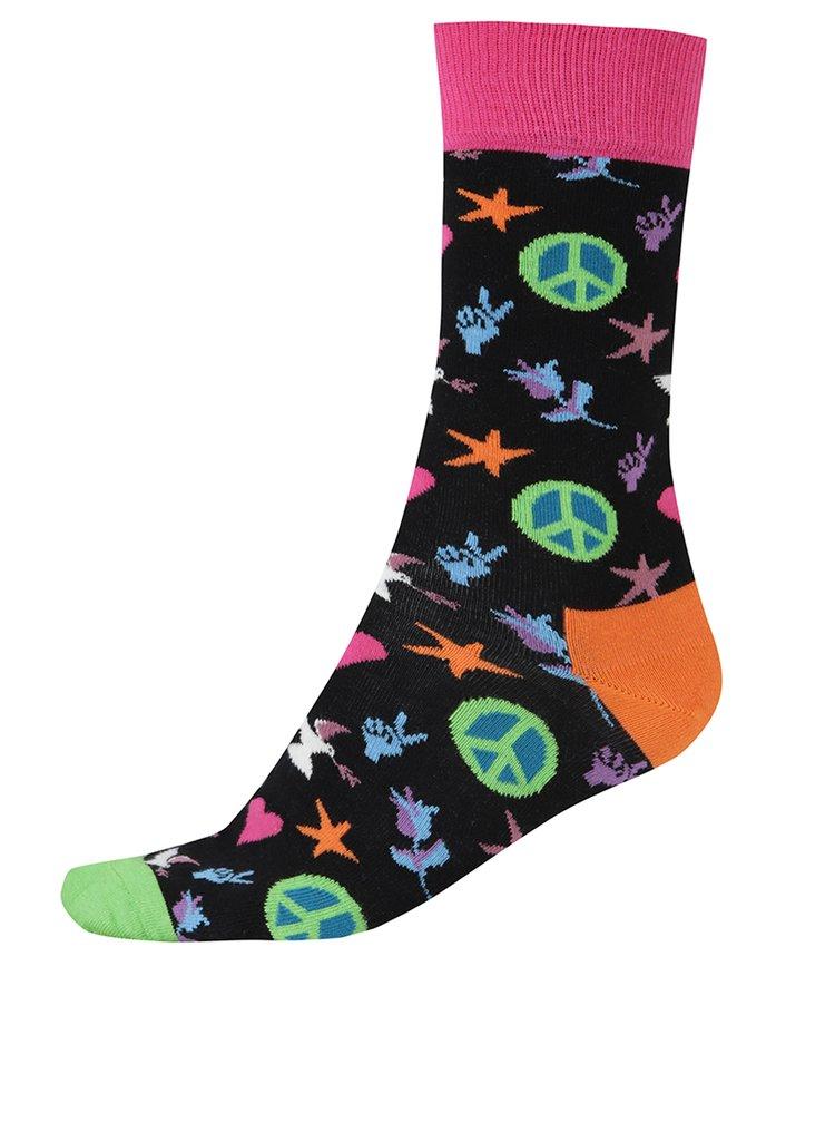 Șosete multicolore înalte pentru bărbați Happy Socks Peace And Love