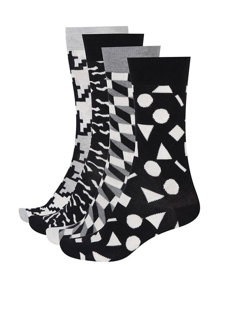 Set monocrom cu 4 perechi de șosete cu imprimeu pentru bărbați Happy Socks Black&White