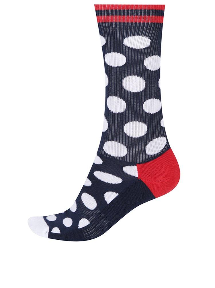 Tmavě modré pánské puntíkované ponožky Happy Socks Athletic Big Dot
