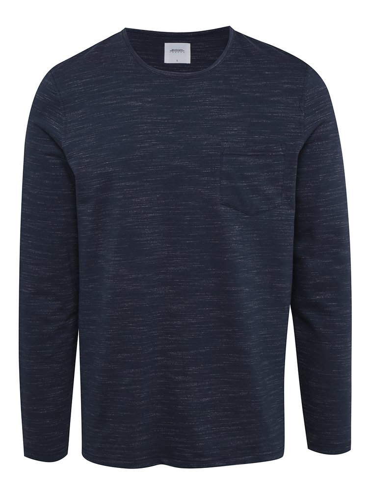 Tmavě modré žíhané triko s dlouhým rukávem Burton Menswear London