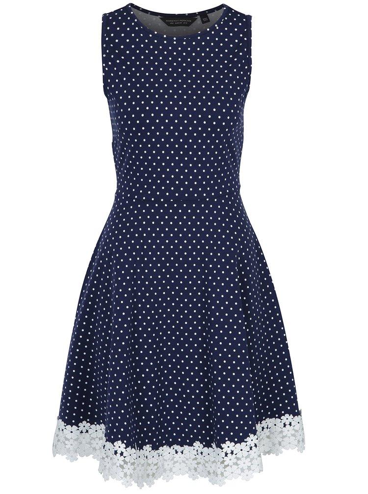 Tmavomodré bodkované šaty s čipkou Dorothy Perkins