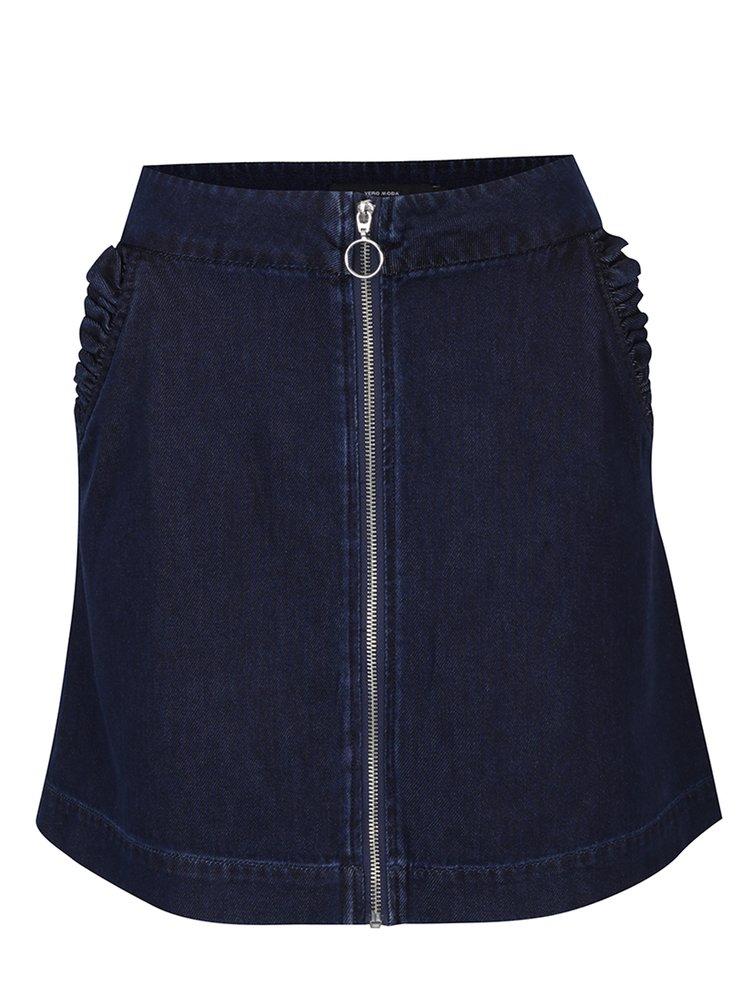 Tmavě modrá džínová sukně se zipem VERO MODA Aston