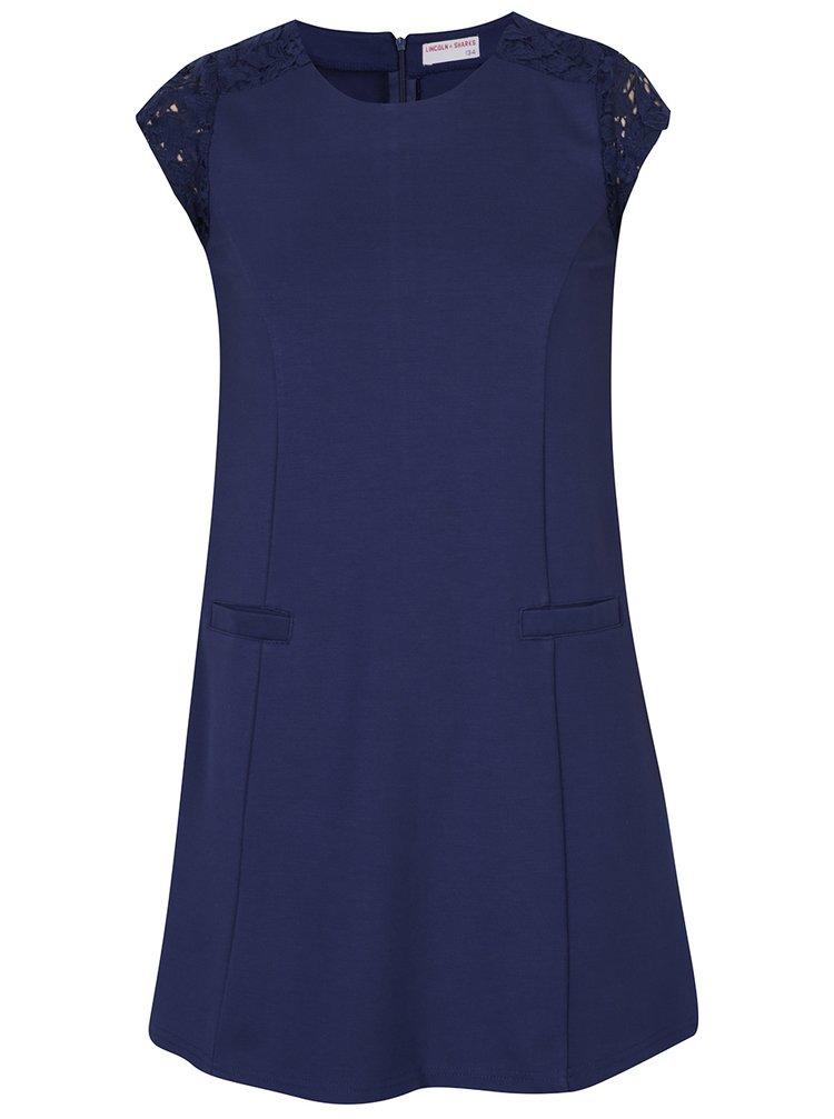 5b36e5f53dd3 Tmavomodré dievčenské šaty s čipkou 5.10.15.