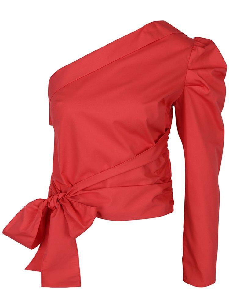 Červená asymetrická halenka s mašlí Miss Selfridge