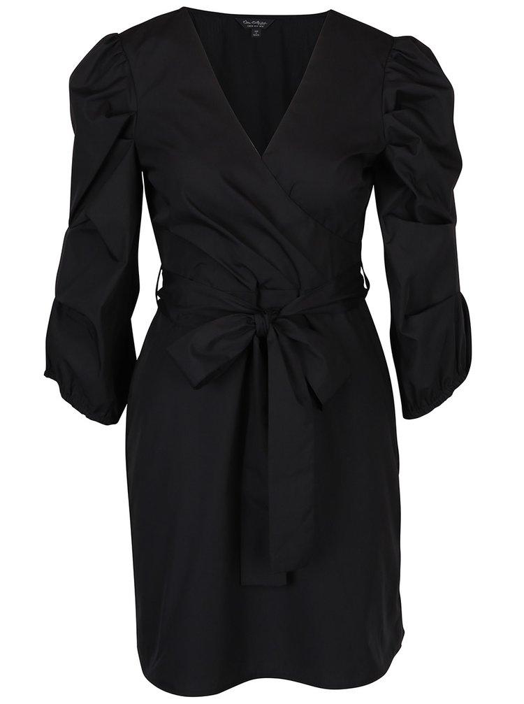 Čierne šaty s prekladaným výstrihom a nariasenými rukávmi Miss Selfridge