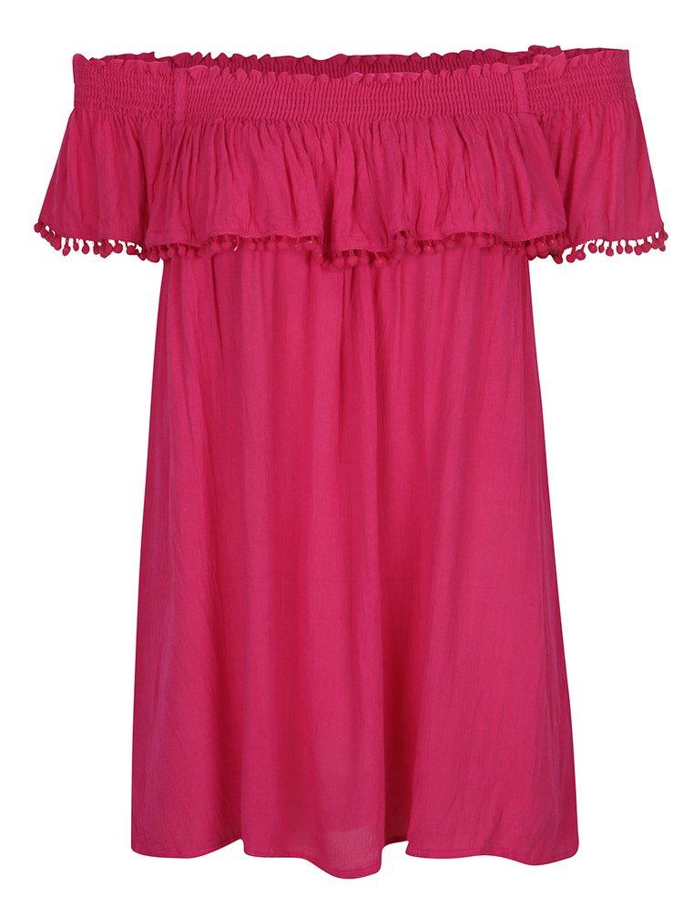 Tmavě růžová halenka s odhalenými rameny Dorothy Perkins Curve