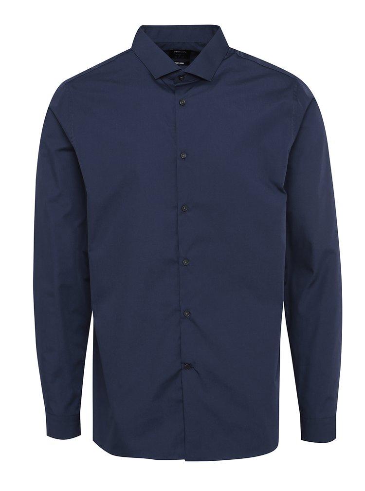 Cămașă skinny bleumarin cu mâneci lungi Burton Menswear London