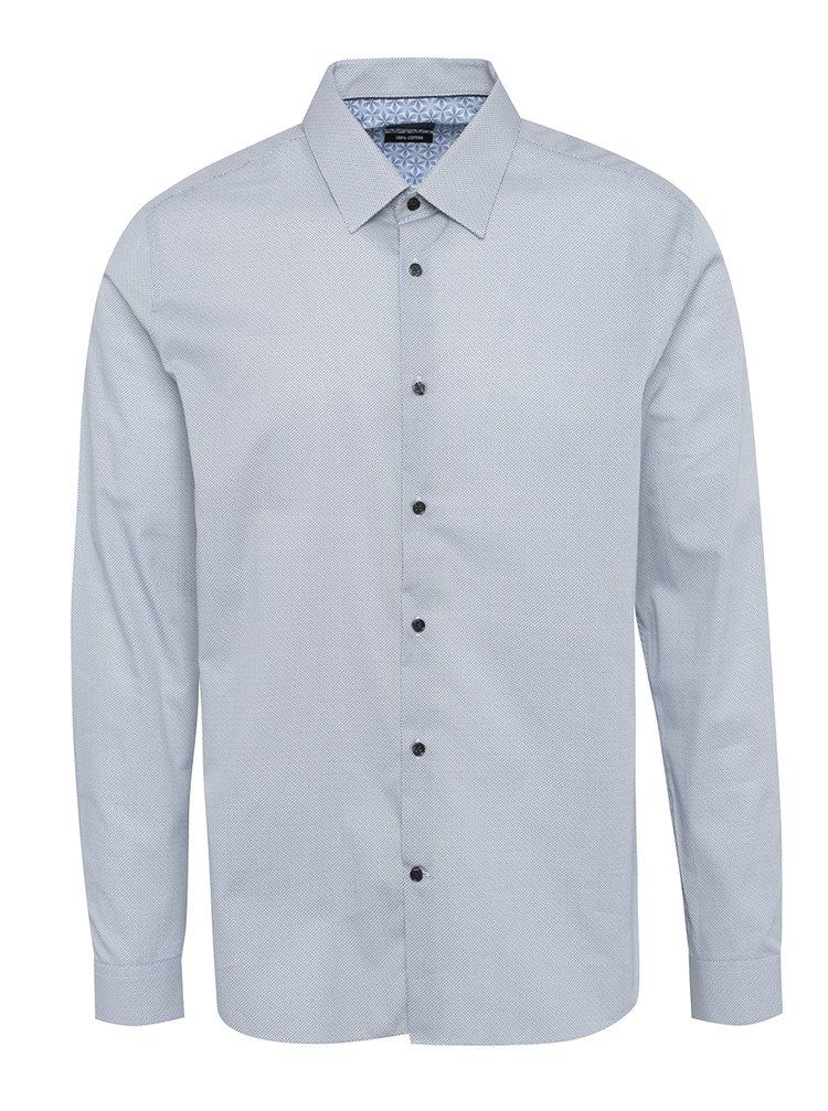 Cămașă office slim fit gri&alb cu model și mâneci lungi Burton Menswear London