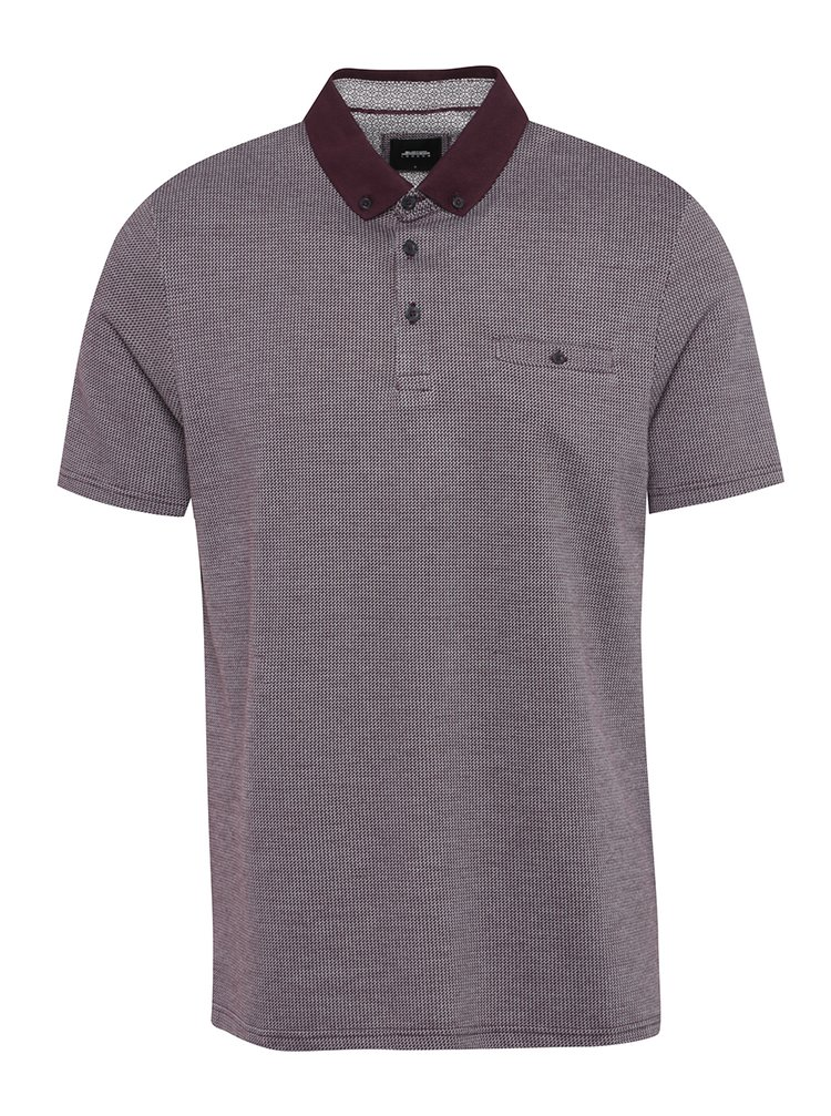 Tricou polo visiniu&crem cu model discret Burton Menswear London