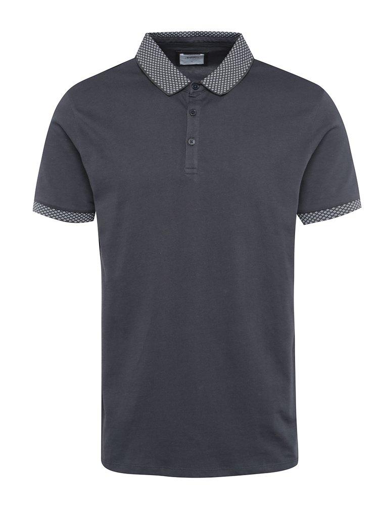 Tmavě šedé polo tričko se vzorovanými detaily Burton Menswear London