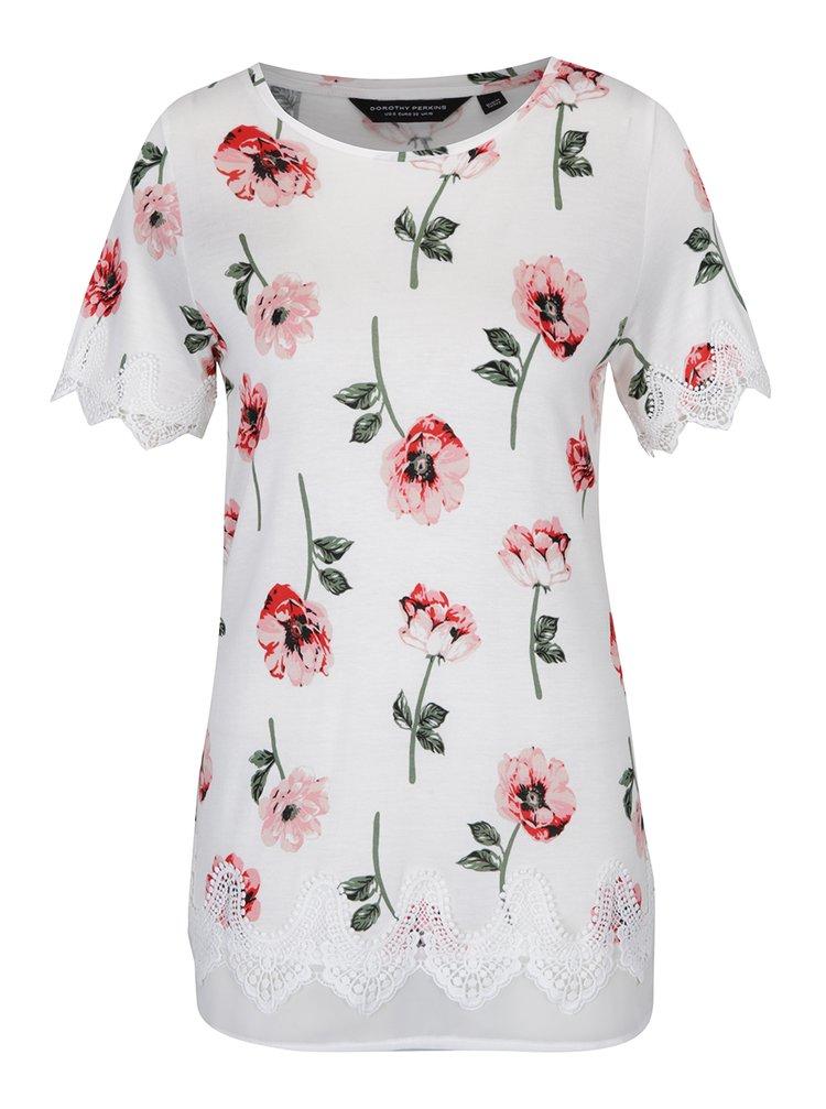Krémové květované dlouhé tričko s krajkovými detaily Dorothy Perkins