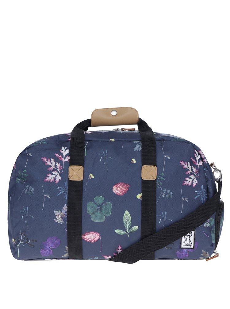 Geantă de voaij bleumarin cu print floral  The Pack Society 27 l