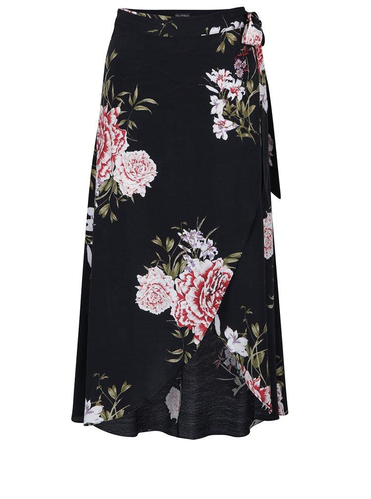 Černá květovaná zavinovací midi sukně Miss Selfridge