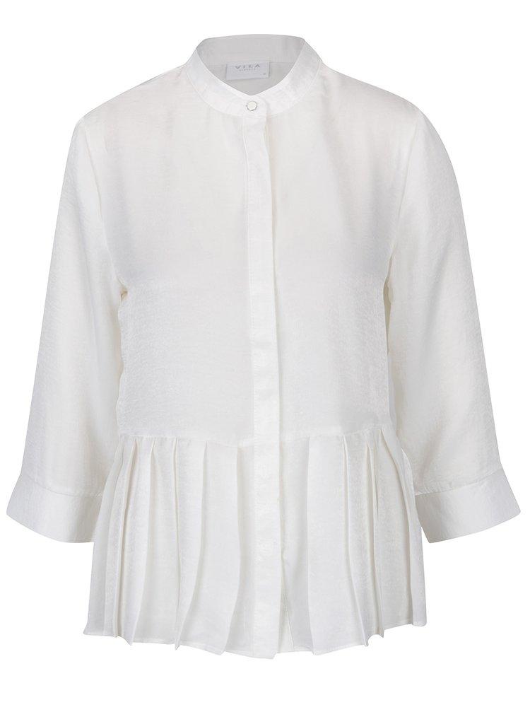Bluza peplum alb fildes cu pliuri VILA Malia