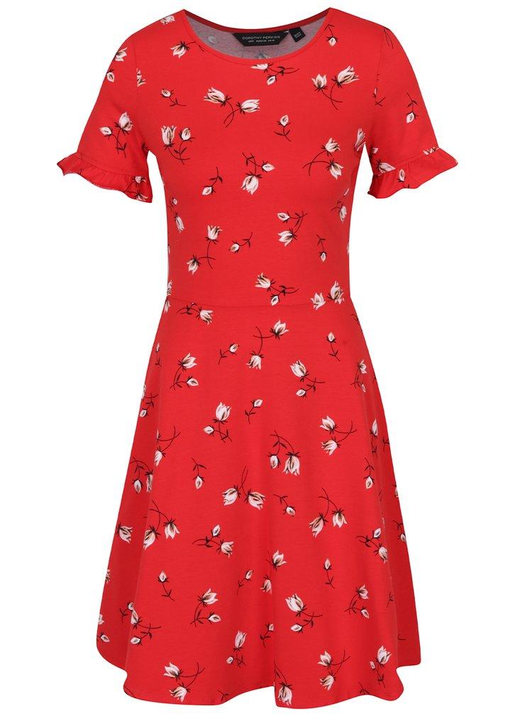 Červené květované šaty s volány na rukávech Dorothy Perkins