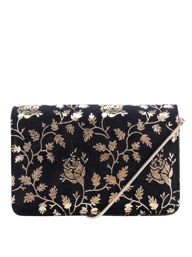 Clutch crossbody negru cu aplicații florale aurii - Miss Selfridge