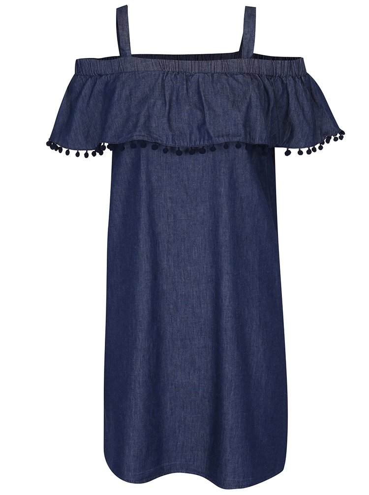 Tmavě modré džínové šaty s odhalenými rameny a plastickými detaily Dorothy Perkins