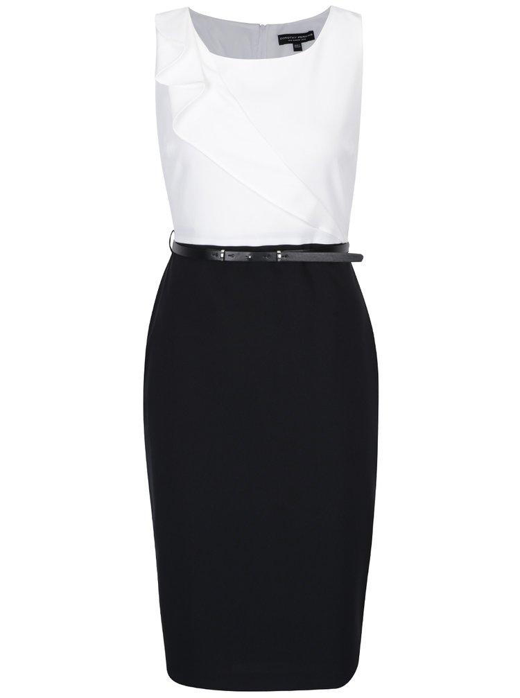 Bílo-černé pouzdrové šaty s páskem a volánem Dorothy Perkins