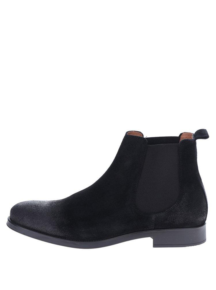 Čierne semišové chelsea topánky Selected Homme Oliver