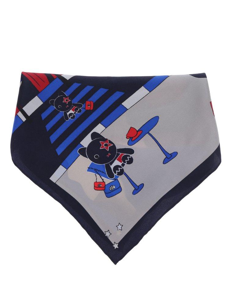 Červeno-modrá dámska hodvábna šatka s potlačou Tommy Hilfiger Mascot