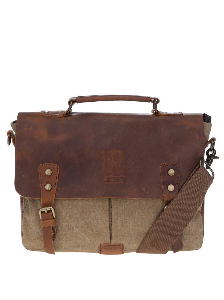 Hnědo-béžová kožená taška na notebook Urban Bag