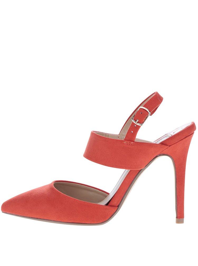 Červené sandálky v semišové úpravě na jehlovém podpatku Dorothy Perkins