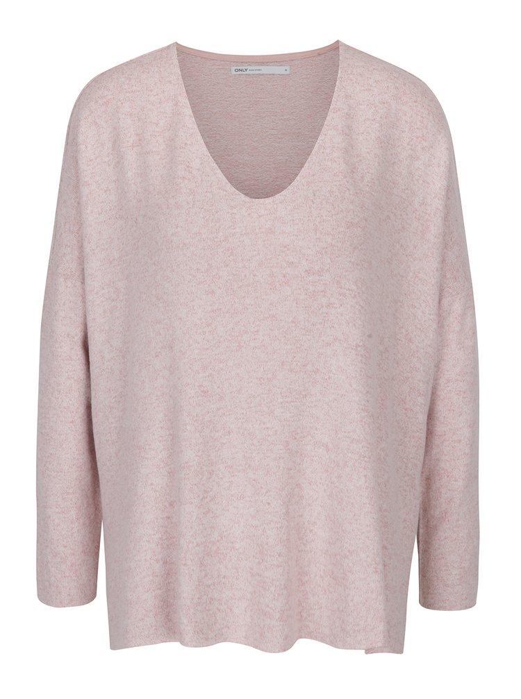 Světle růžový žíhaný volný svetr s véčkovým výstřihem ONLY Maye