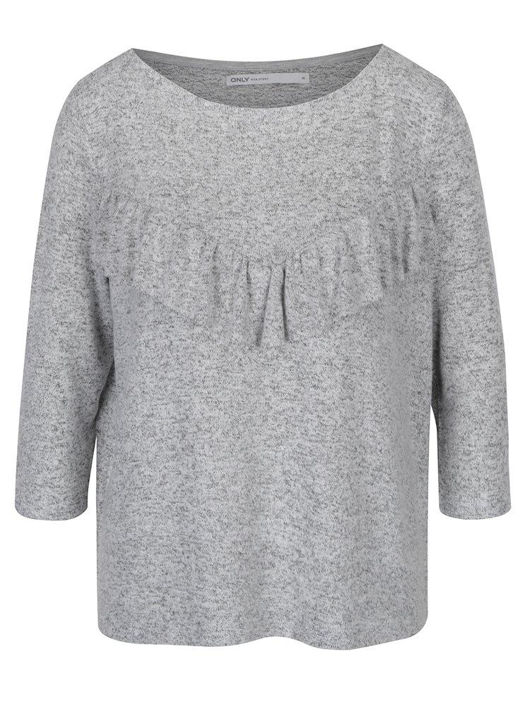 Šedý žíhaný volný svetr s volánem ONLY Maye
