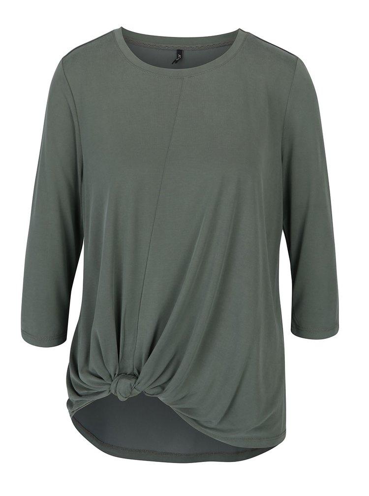 Khaki volné tričko s uzlem ONLY Miley
