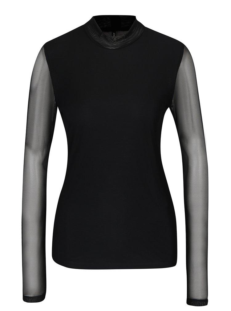 Bluza neagra cu maneci si spate transparent - ONLY Erica