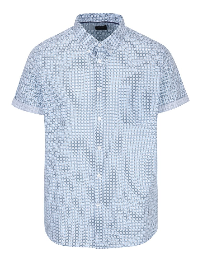Modro-krémová vzorovaná košile s krátkým rukávem Burton Menswear London