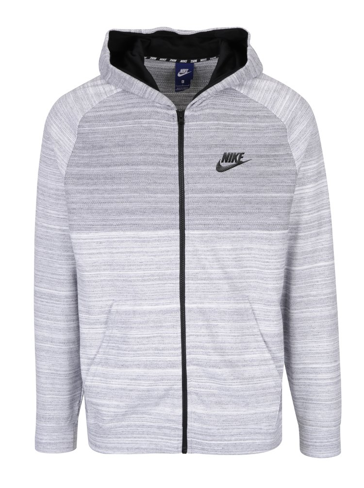 Krémovo-šedá žíhaná pánská mikina s kapucí Nike New