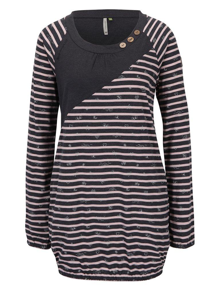Růžovo-černé pruhované dlouhé tričko Ragwear Linny Organic