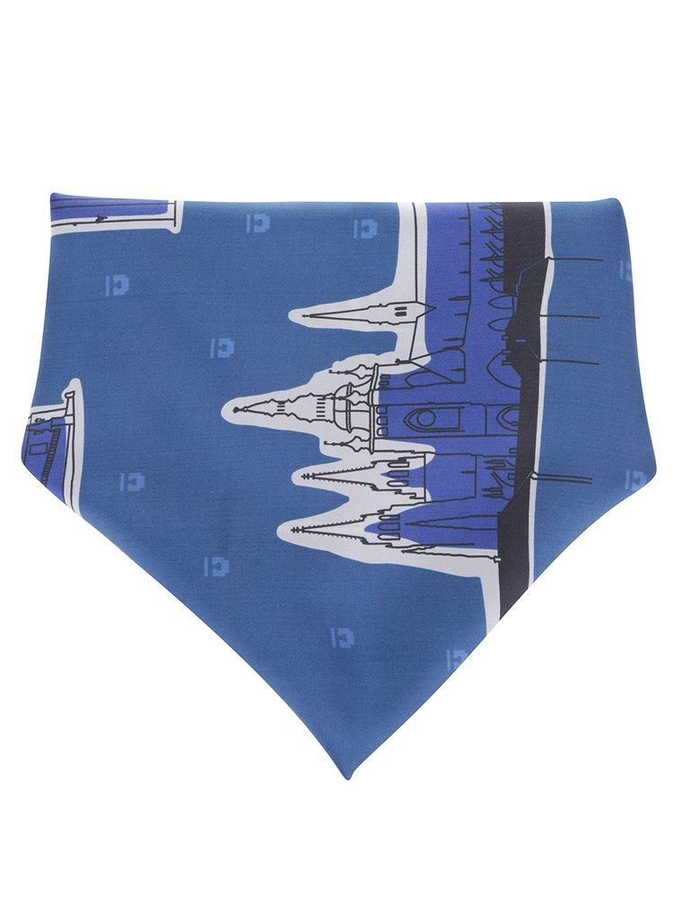 Eșarfă albastră din mătase naturală cu print - Prahy Emblemm