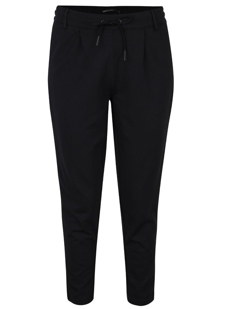 Černé kalhoty s koženkovými detaily na nohavicích ONLY Billy Boy