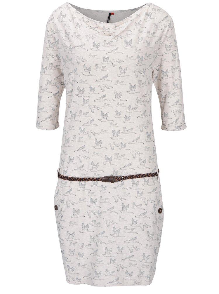 Béžové vzorované šaty s páskem Ragwear Tanya