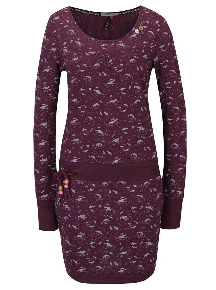 Vínové vzorované šaty s dlouhým rukávem Ragwear Penelope