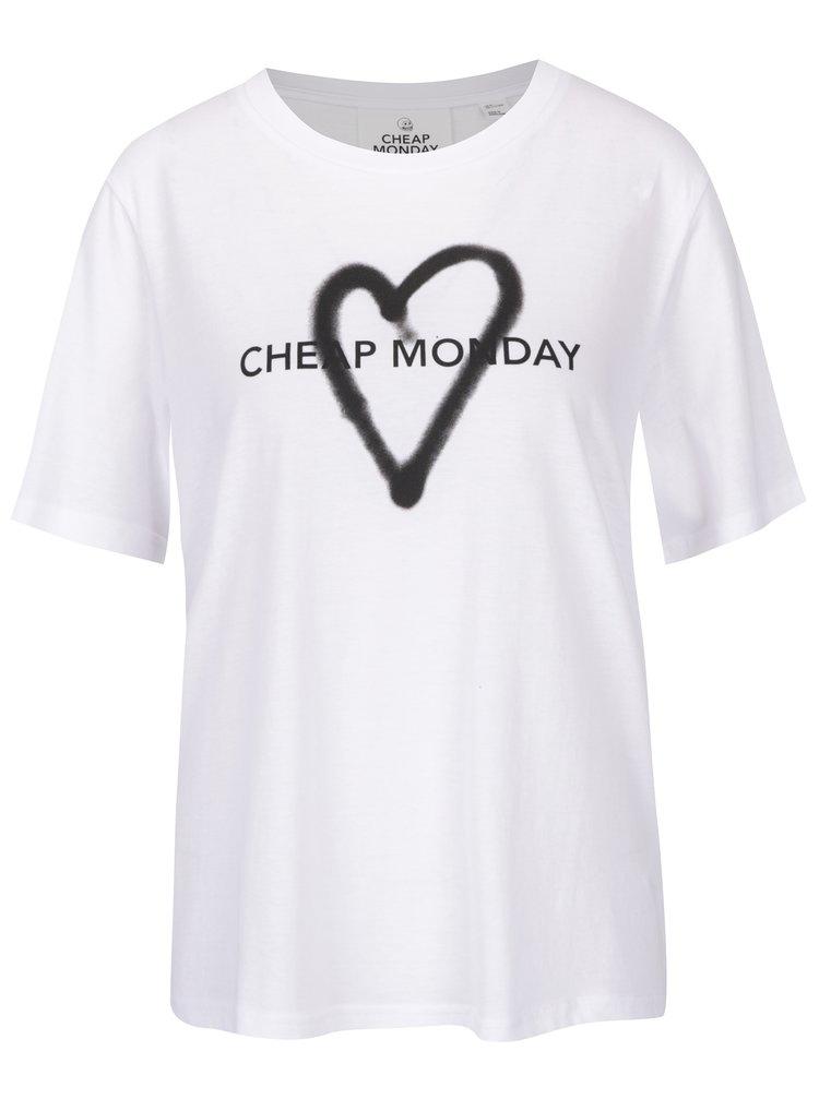 Bílé dámské volné tričko s potiskem Cheap Monday Love